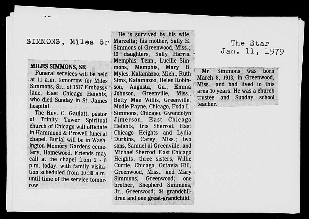 Miles Luther SIMMONS Newspaper Clipping